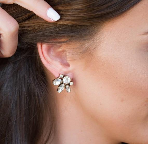 DRUZY DROP EARRINGS  Silver and crystal earrings Crystal dangle earrings Something blue bridal jewelry Bridesmaid gift Statement earrings