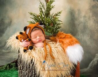 Newborn Props - Fox Bonnet and Tail Set - Newborn Fox Stuffie - Newborn Fox Set - Ready to Ship