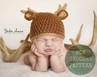 a7e6ab6a4b5 Deer Hat Pattern - Crochet Pattern - Baby Hat Pattern - Newborn Prop Pattern