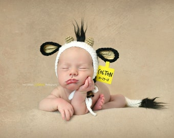 Newborn Cow Bonnet - Photography Prop - Baby Cow Hat - Newborn Cow Prop -  Baby Shower Gift 27b9297efae