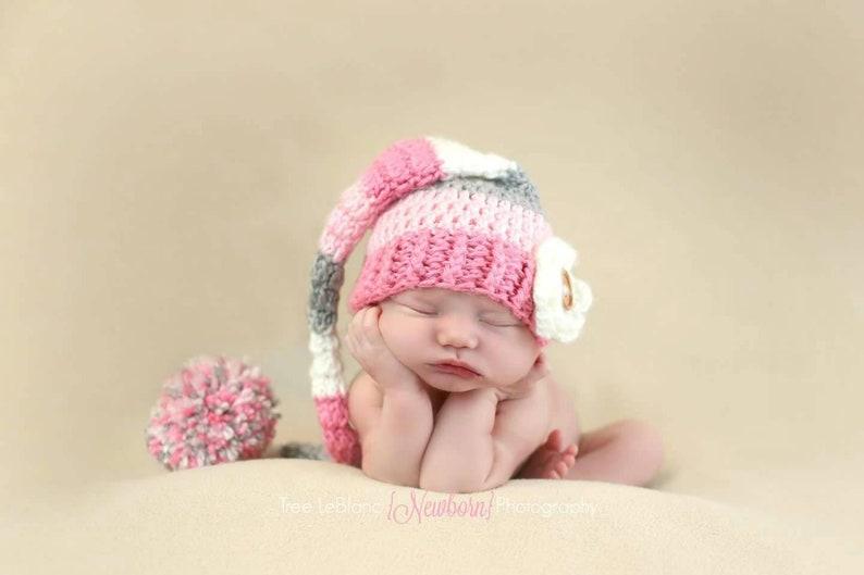 7833187a888 Newborn Props Long Pom Pom Hat Baby Girl Hat Baby Shower