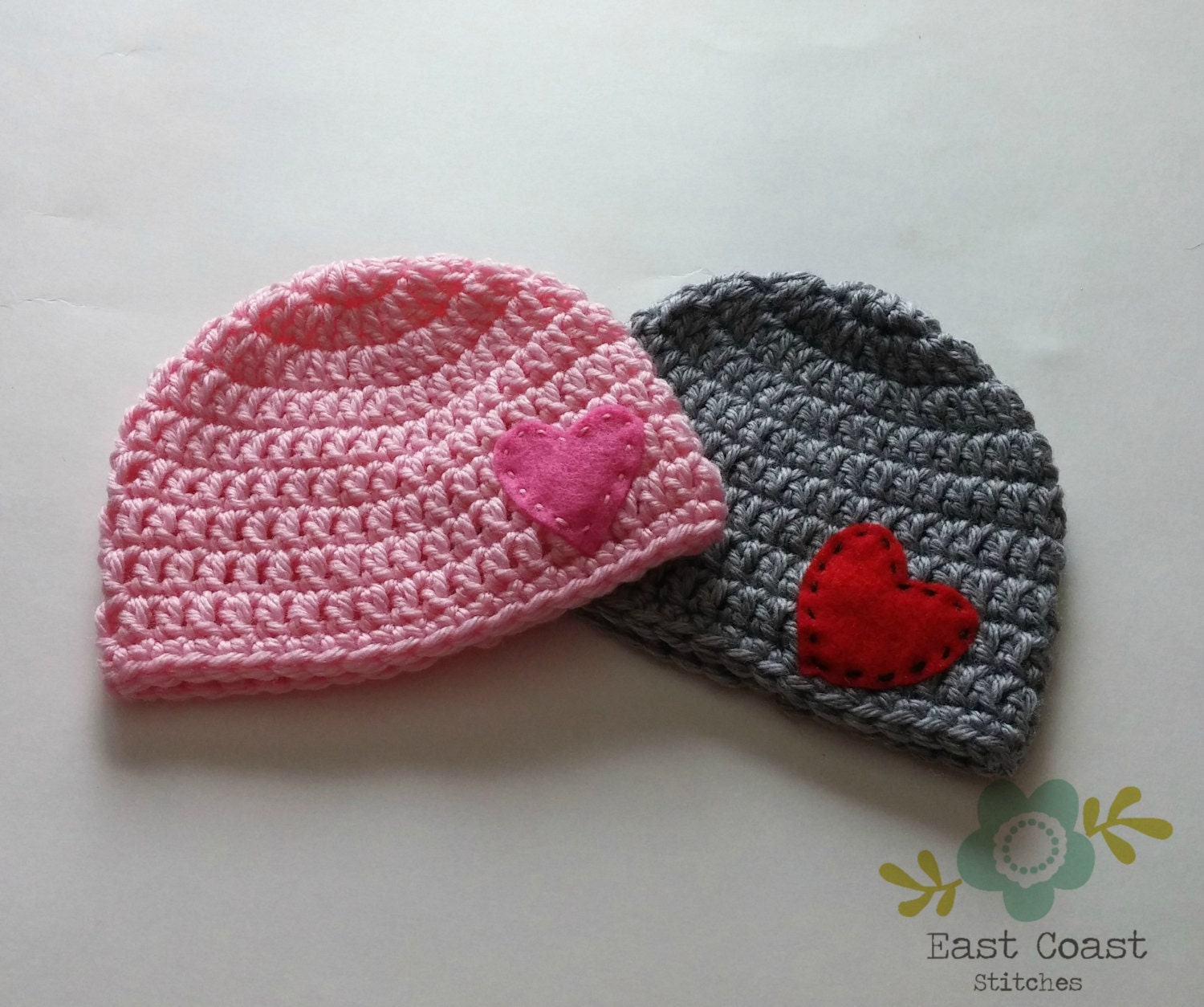 63cfb40b597 Winter Hat Crochet Beanie with Heart Valentine s Day