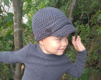 Classic Newsboy Hat for Boys - Navy Newsboy - Grey Newsboy - Boys Fall Hat - Boy's Beanie - Newsboy available in all sizes