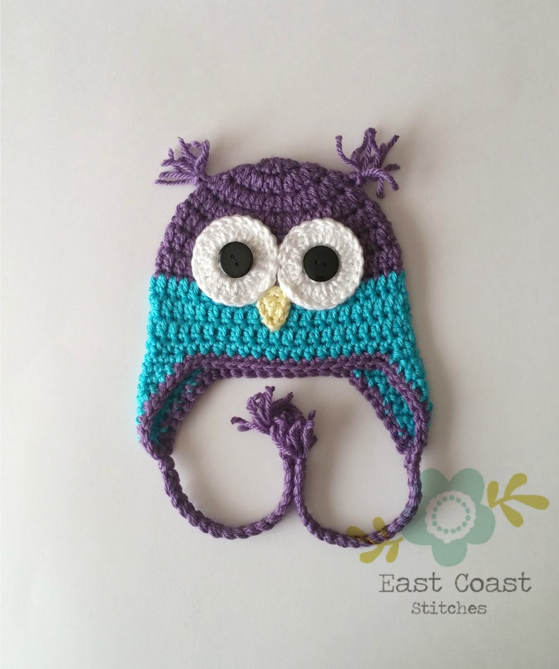 e99744f8782 Purple Owl Hat Winter Hat Baby to Adult Sizes