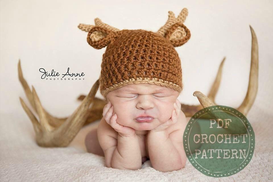 448bae53a Deer Hat Pattern - Crochet Pattern - Baby Hat Pattern - Newborn Prop Pattern