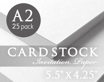 "White Cardstock Paper - 25 Pack - White Cardstock - A2 - 5.5"" x 4.25"" - White Card Stock - Details Card, Direction Card, Hotel Insert"