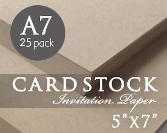 "Kraft Wedding Invitation Cardstock - 25 Pack - Kraft Card Stock - A7 - 5"" x 7"" - Rustic Wedding Invitation Paper - DIY Invitation Template"