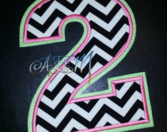 8 1/2 Inch Number 2 Chevron Sew On Patch