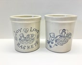 2 Roseville Pottery 1 quart High Jars Bears and Baskets R.R.P. Co. Ohio USA