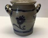 Williamsburg Restoration Salt Glazed Crock Hand Painted Design
