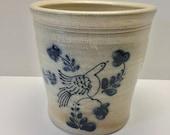 1985 David Eldreth Salt Glazed Hand Painted Crock Nottingham PA. Bird Design
