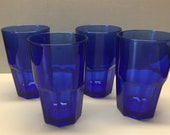 Set of 4 Crisa Cobalt Blue Glasses Made by Libbey Water Glasses Tumblers Gibraltar Style