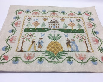 Finished 1987 Antique Pineapple Cross Stitch Sampler / Large Cross Stitch / Ready To Frame