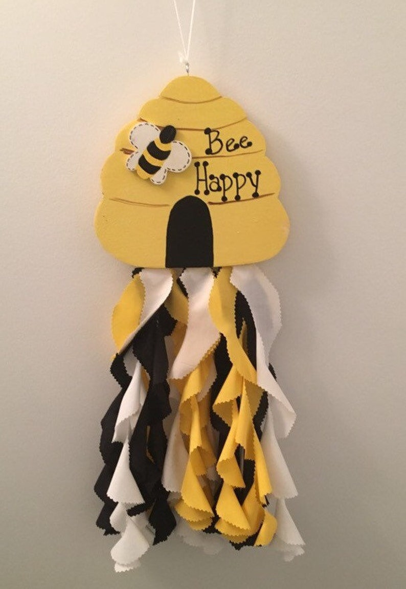 BUMBLE BEE HIVE  Wood and Fabric Windsock    Personalization available