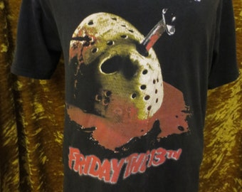 Vintage Friday the 13th Jason Made In Hell Vintage Graphic T-Shirt Size  Medium Planet Hollywood Horror Series Double Sided fd48cede06f2