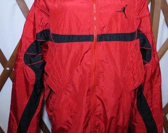 74bb13cae78d52 Vintage Nike Air Jordan Jumpman Flight Suit Red   Black Fresh Retro Rare  Nike Nylon Windbreaker Jacket Size XL