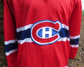 Vintage Montreal Canadiens CCM Red NHL Hockey Jersey Blank Size XL Made in Canada