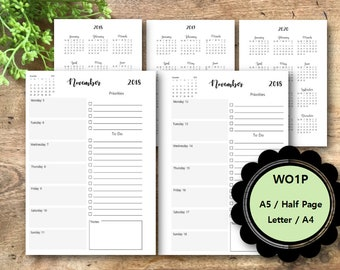 Weekly Planner Printable Pages 2018, WO1P, Dated, A5, Half Page, Letter, A4, Weekly Planner Inserts, Filofax, Kikki K