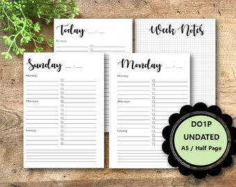 UNDATED Daily Planner Printable Pages, DO1P, A5, Half Page, Letter, A4,  Daily Planner Inserts, Daily Planner Pages, Filofax, Kikki K
