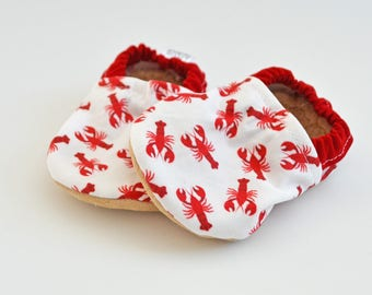 Lobster Baby booties, Maine baby gift, baby moccs, nautical baby outfit, toddler soft soled shoes, Lobster baby clothes, Maine Made baby