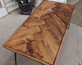 Herringbone Coffee Table With Hairpin Legs (Handmade Rustic, Chevron Option  Available)