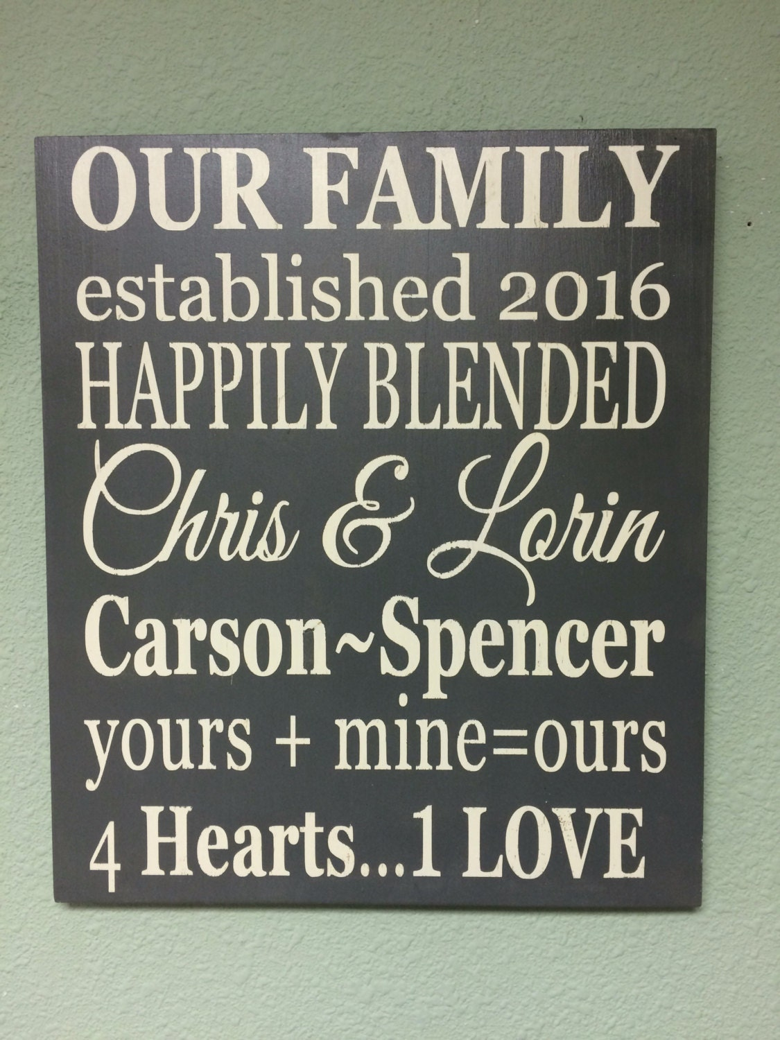 Blended Family Wood Sign, Personalized Wall Decor , Family Home Decor,  Wedding Gift, Custom Wall Hanging