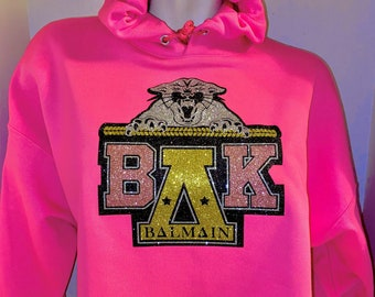 Blingy Pink hoodie-Cropped version