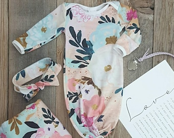 FLORAL BABY SET Tie Gown Girls Newborn Take Home Outfit Headband Blanket  Gown Set Knotted Sleep Sack Baby Photos Soft Watercolor Easter Set 59dab8675ad6
