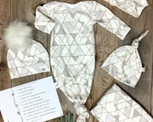 BOYS NEWBORN GOWN Ready to Ship Geo Tie Gown Hb Blanket Hat Fur Pom Ball knot Top Take Home Outfit Watercolor Pm-6m Opt Organic Made in Usa