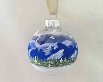 Blue Ridge Parkway Winter Scene, Hand Painted Glass Ornament
