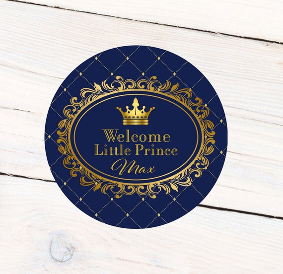 Royal Baby Shower Personalized Favor Sticker Prince Label Etsy