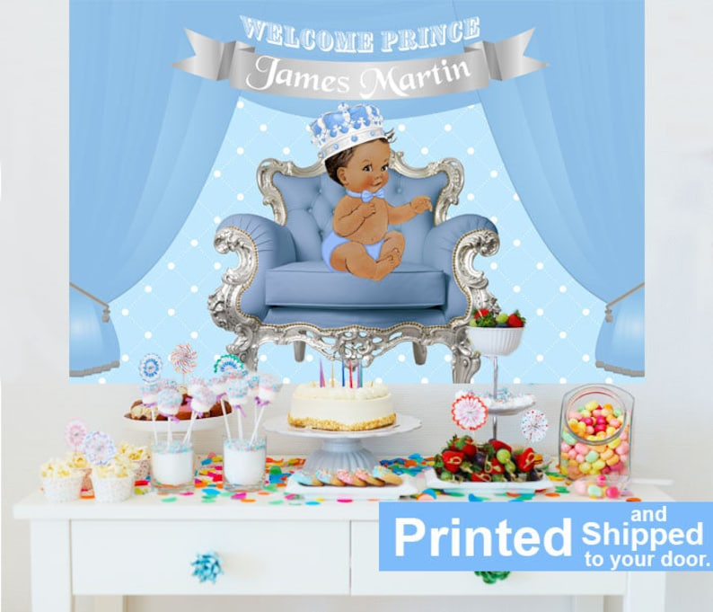 Royal Prince Baby Shower Cake Table Backdrop Prince Baby Boy Etsy