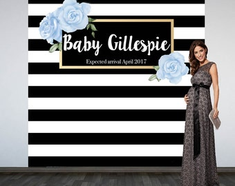 Black & White Stripes Backdrop-  Baby Shower Photo Booth Backdrop- Welcome Blue Roses Christening Backdrop