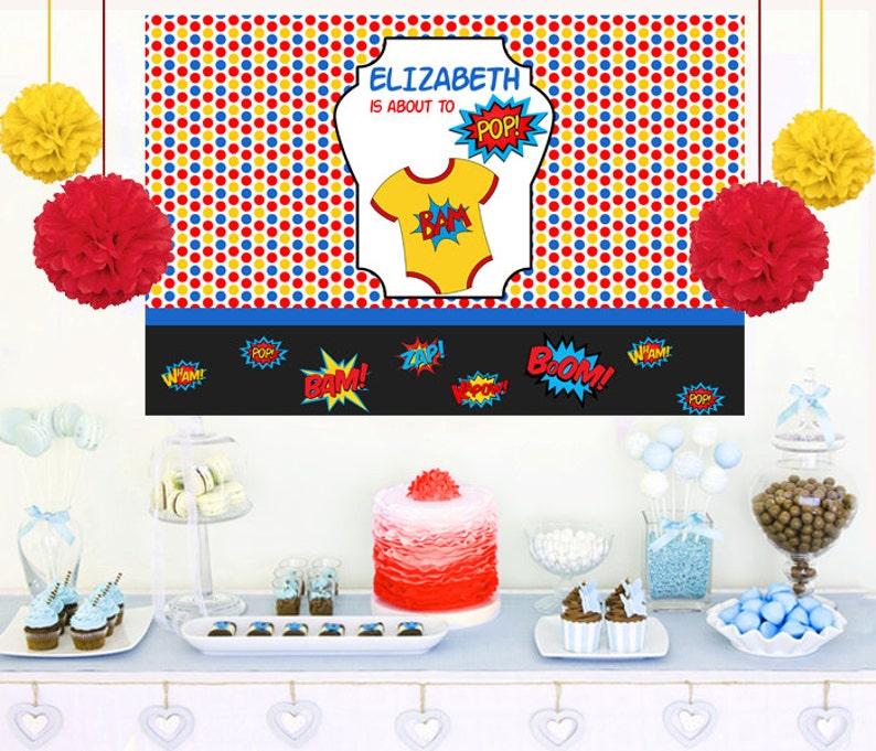 Cake Table backdrop Vinyl Printed Backdrop Superheros Party Backdrop SuperHero Photo Backdrop- Baby Shower Large Banner Photo Backdrop