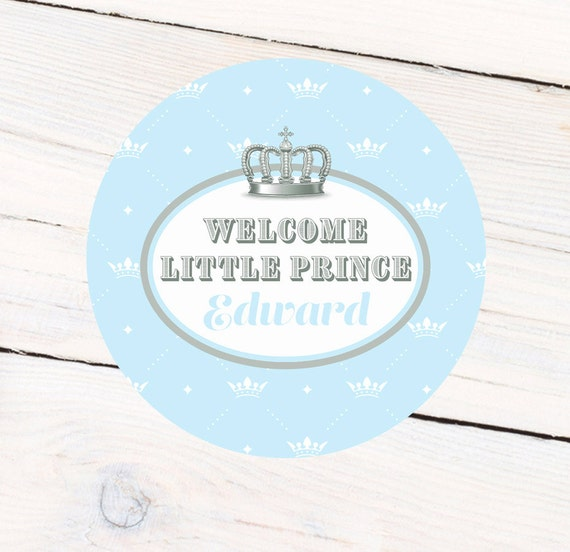 welcome little prince baby shower personalized favor sticker etsy
