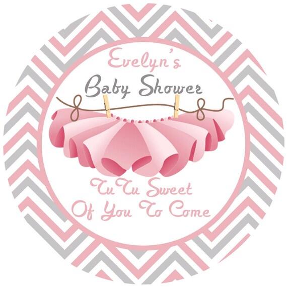 baby shower tutu personalized favor sticker baby girl baby etsy