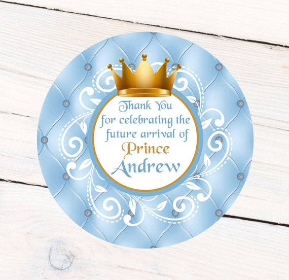 Little Prince Baby Shower Personalized Favor Sticker Etsy