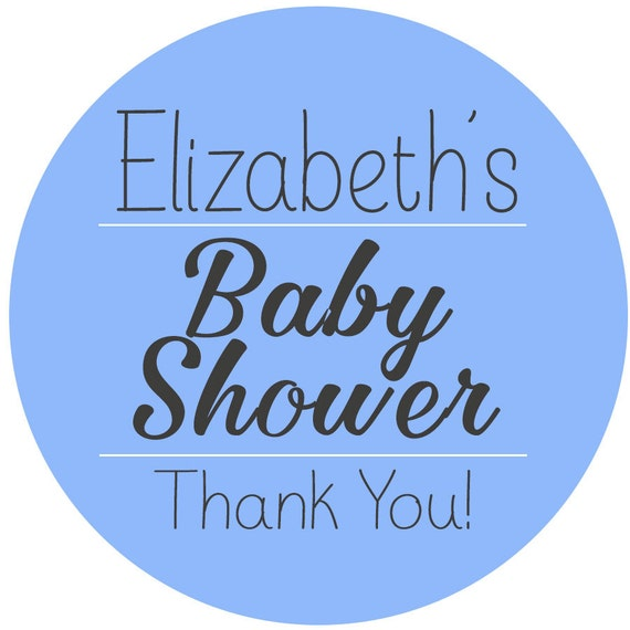baby shower thank you personalized favor sticker simple etsy