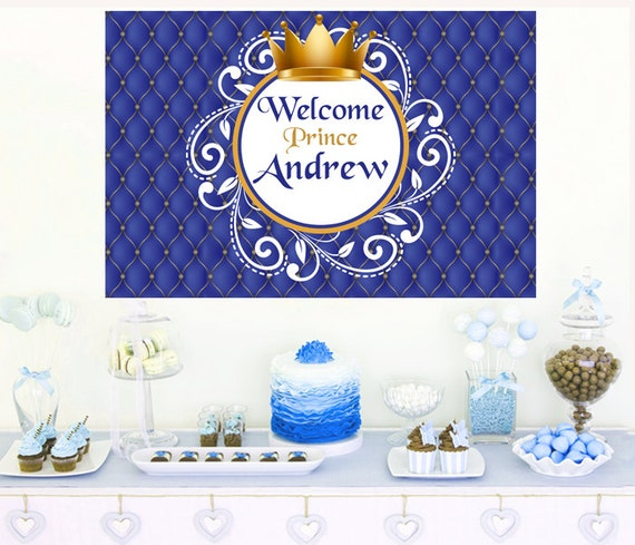 Welcome Prince Baby Shower Cake Backdrop Photo Backdrop Etsy
