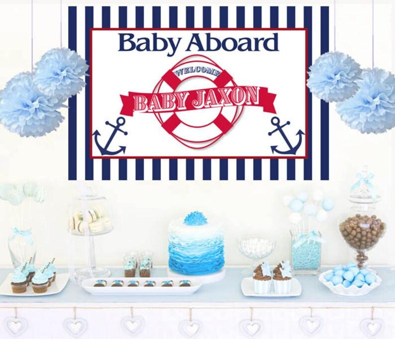 Nautical Baby Shower Cake Backdrop Its A Boy Photo Backdrop Etsy