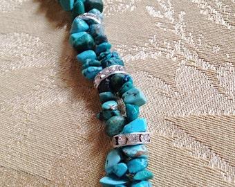 Turquoise Double strand bracelet with Swarovski crystals