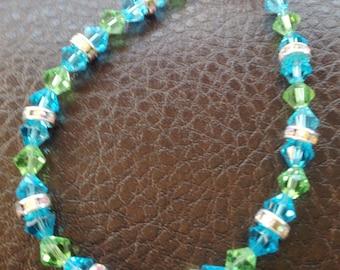 Swarovski crystal bracelet in green & blue