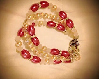 3-Strand bracelet with pink beads, champagne pearls and Swarovski crystal spacer beads