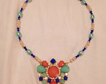 Coral & Mint Necklace