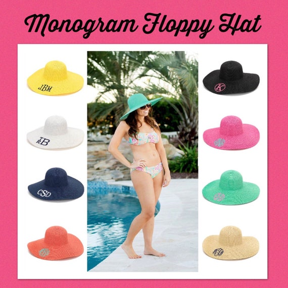e49d53eaceb Monogram Floppy Hat Monogram Beach Hat Personalized Beach