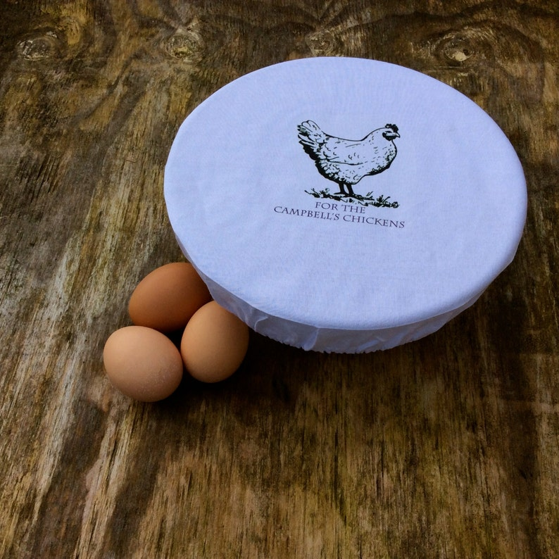 Personalised Cotton Bowl Cover for Hen and Chicken Lovers