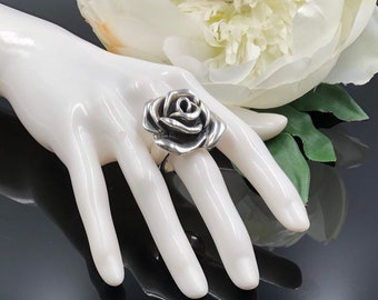 f69196d4b Sterling Silver Large Rose Statement Ring, Sculptural Ring, Electroform  Jewelry Rose Ring, Silver Flower Ring