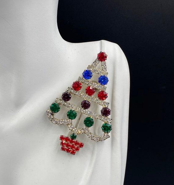 holiday pin xmas tree pin Aurora borealis rhinestone Christmas tree pin Christmas pins rhinestone Christmas tree brooch Christmas pin