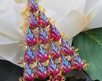 Christmas Tree Pin, Iridescent Red Molded Glass Stones, Red Aurora Borealis Rhinestone Xmas Tree, Xmas Tree Brooch, Large Christmas Tree