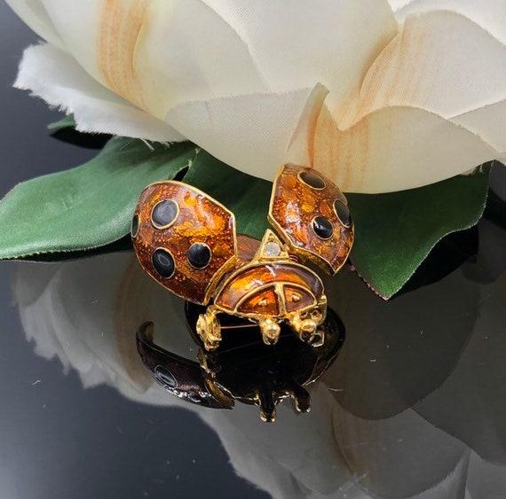 Trembler Lady Bug Brooch, En Tremblant Golden Brow